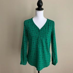 Merona Green Queen Bee 🐝 Long Sleeve Blouse XS